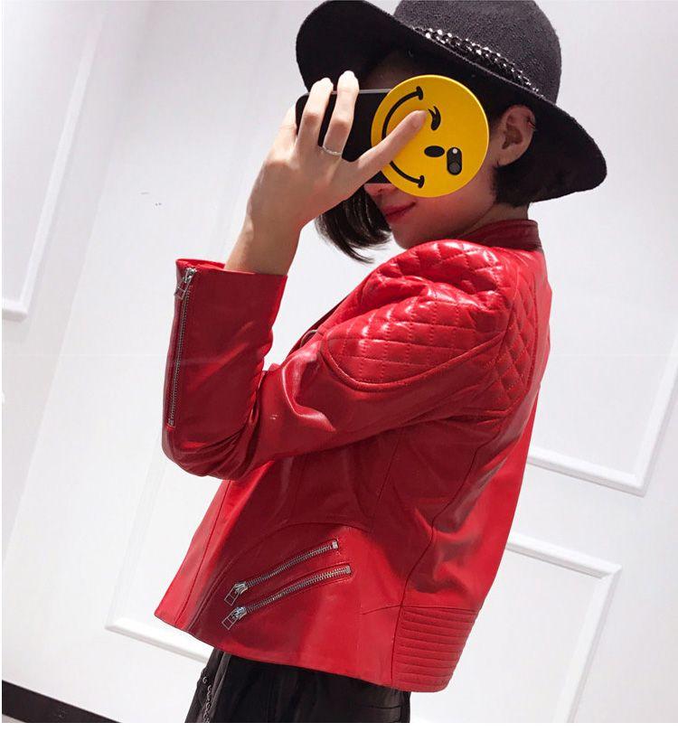 Großhandel Herbst Echtes Leder Jacke Frauen Schaffell Mantel Plus Größe Schwarz Rosa Rot Kurze Damen Mantel Cropped Punk Weibliche Bomberjacke Von