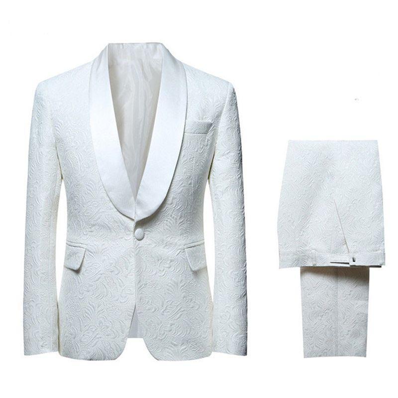 Slim Fit White Men juegos de la boda del novio de los smokinges del novio trajes del baile del desgaste del padrino de Porm Wear 2 pedazos (chaqueta + pantalones)