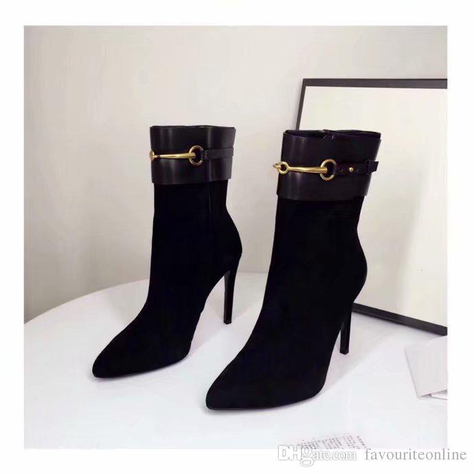 العلامة التجارية الفاخرة للمرأة نصف الكعب العالي 10CM أصابع مدبب منتصف الساق الجوارب السيدات فارس جلد الغزال الأحذية حجم 35-40 [المربع الأصلي]