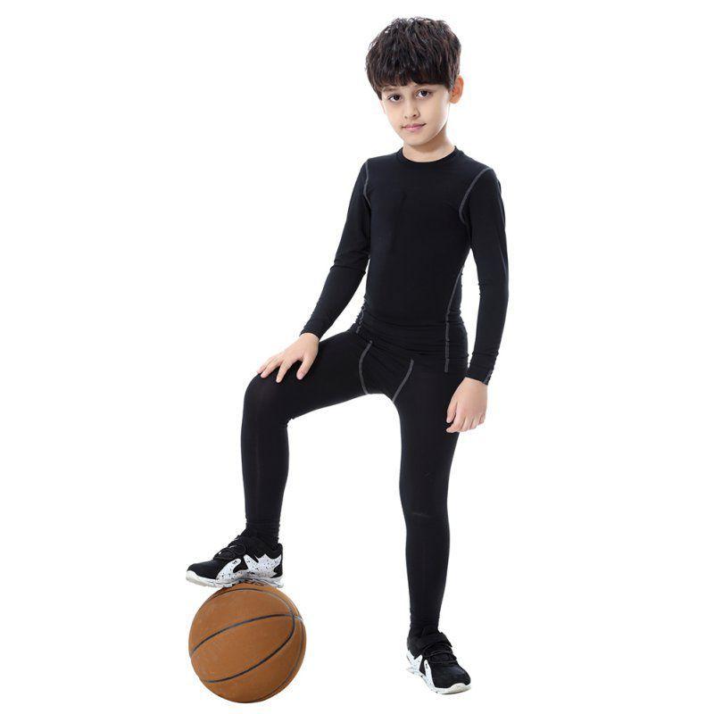 의류 빠른 드라이 탄성 허리 스키니 팬츠 어린이 스포츠 타이즈를 실행하는 2019 어린이 소년 압축 바지 스포츠