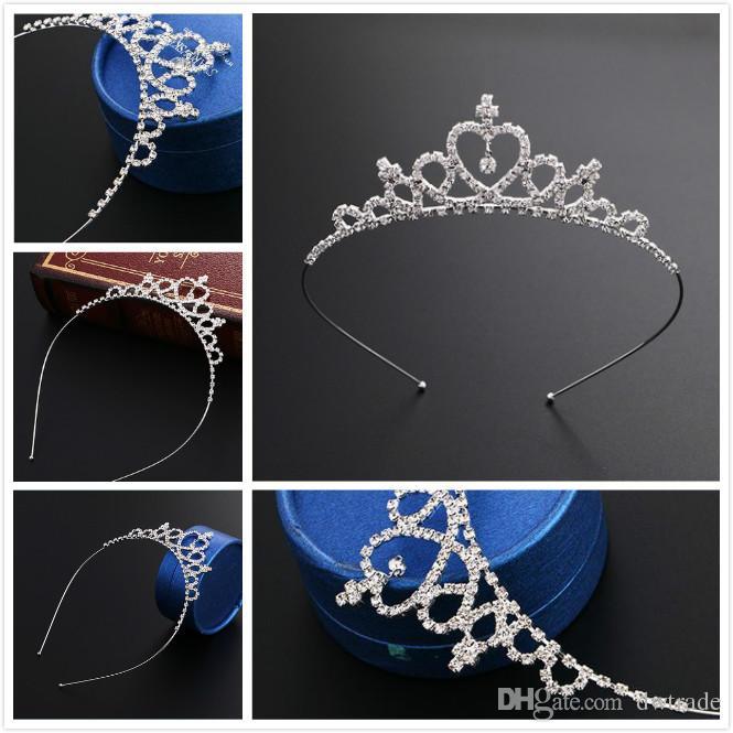 Tiara del nastro delle neonate Squisita brillante Diamond Crown Princess Barrette Capelli Bambini Headwear Metal Sliver Archi Bambini Accessori per capelli