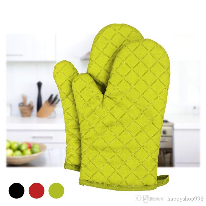 2018 Newest Microwave Oven Glove Heat Resistant Silicone Oven Gloves Non-Slip Cotton Quilted Kitchen Gloves Mitts For Cooking Baking
