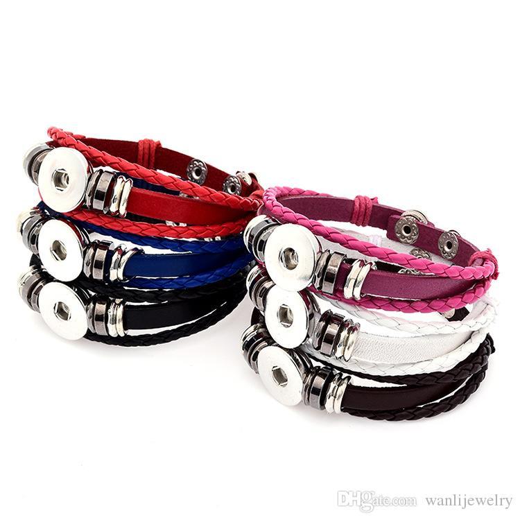 Bouton gros Hot Bracelets nouvelle conception de la mode NOOSA morceaux Bracelets en cuir Fit 18mm Noosa Snaps Bijoux