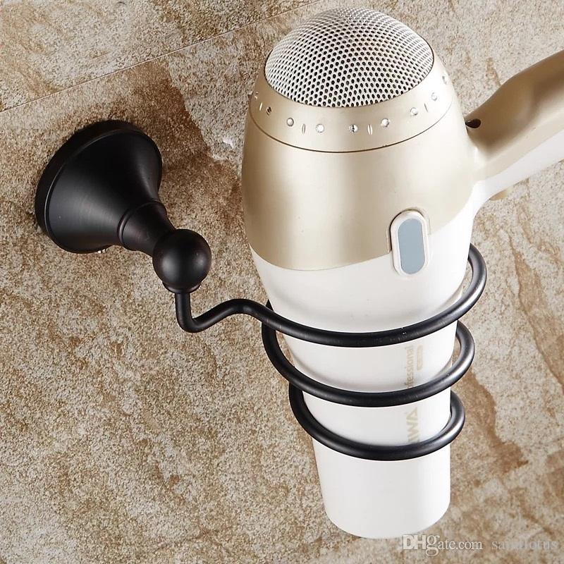 Estante de baño negro Secador de Rack Con Titular Secador de pelo Rack Hogares Estante Secador de pelo Secador de pelo Titular Accesorios de baño