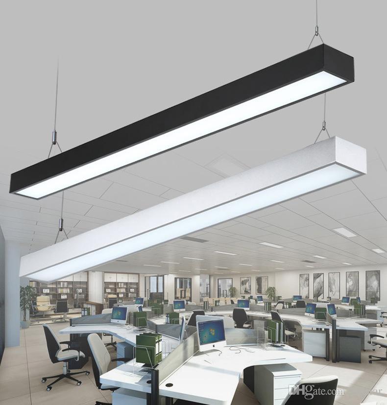 18 W 36 W 4ft 120 cm offfice levou luz pingente luzes de suspensão de alumínio retangular moderno bar pingente de iluminação prata preto luminária