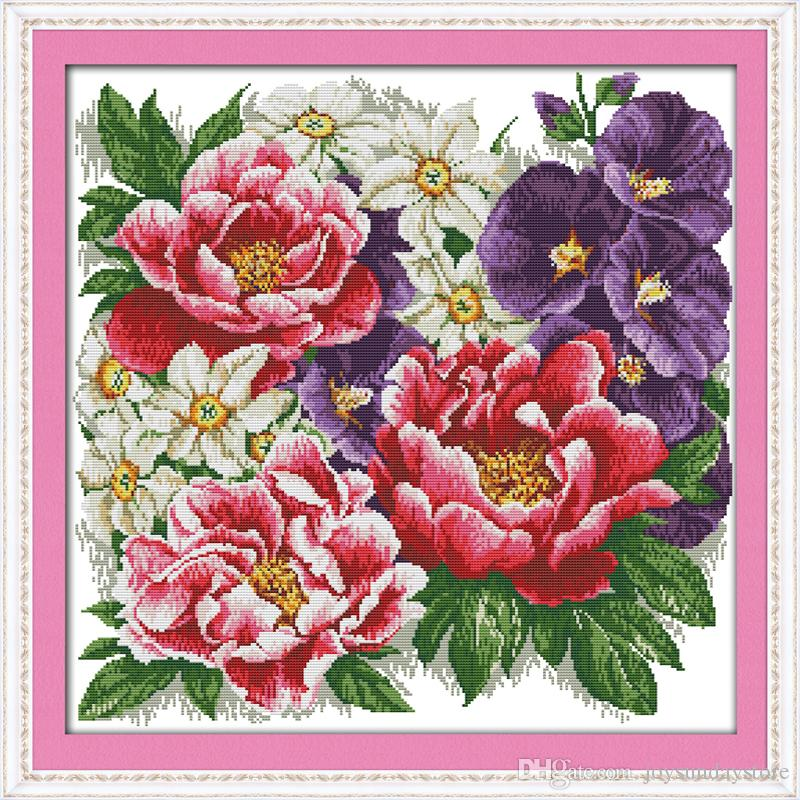 A bunch of vigorous flowers Cross Stitch Kits 11CT Printed Fabric 14CT Canvas DMC Counted Chinese Cross-stitch set Embroidery Needlework