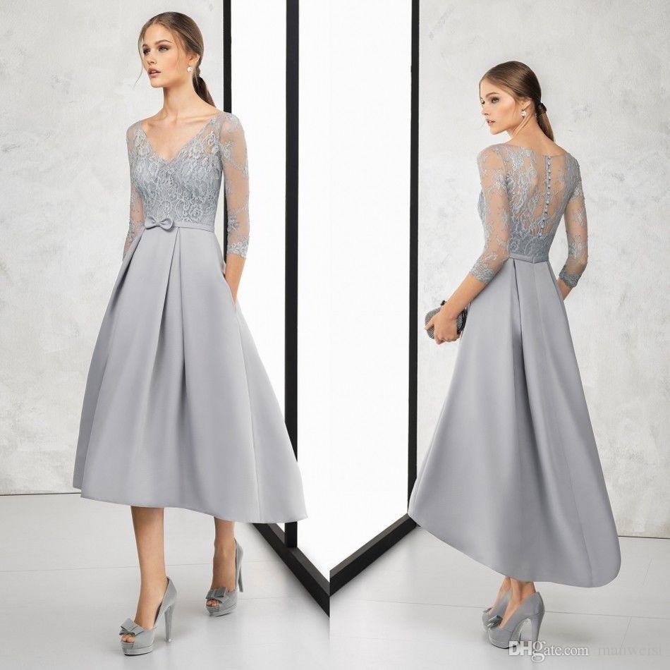 großhandel elegante silber mutter der braut kleider v ausschnitt 3/4 Ärmel  a line tee länge hochzeitsgast kleid abendkleider von manweisi, 94,38 € auf