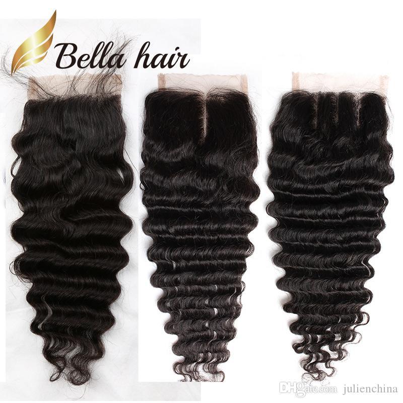 Bella Hair® 8A 8~26in Brazilian Hair Closure Deep Wave HD Pre-Plucked Virgin Hair Natural Color Wavy Top Lace Closure Human Hair Pieces