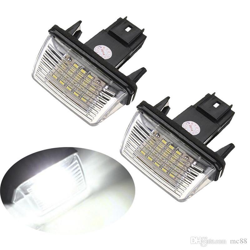 2pcs 12V Led ampoules de lampe de plaque d'immatriculation pour Peugeot 206 207 306 307 308 406 407 5008 partenaire Citroen C3 C3 Ii C3 C4 C5