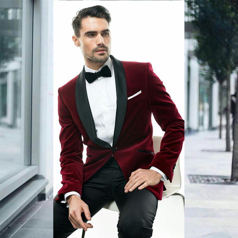 Burgonya Kırmızı Kadife Şal Yaka Erkekler Wedding Suits Damat Casual Smokin Kostüm Homme Slim Fit En İyi Erkek Blazer Ceket Balo Pantolonlar Takımlar