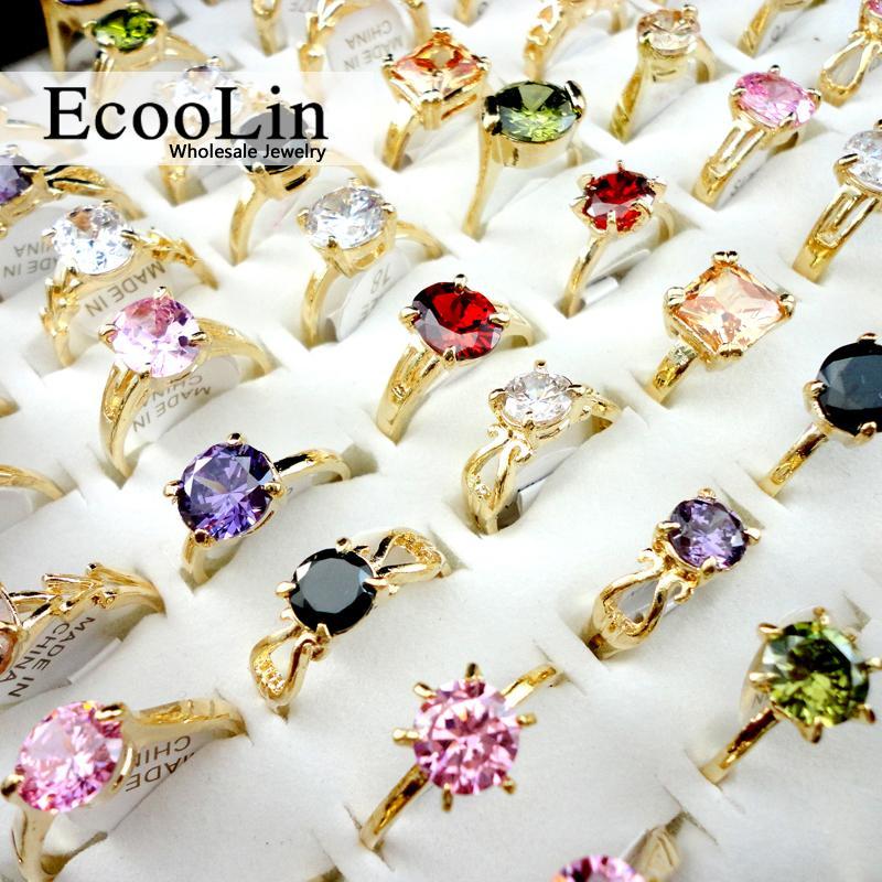 10pcs Vente chaude Mode Zircon or classique Bagues de fiançailles pour femmes Beaucoup de bijoux LR439