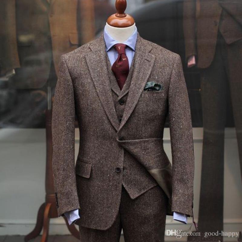 Wiosna Zima Moda Brown Tweed Groom Smokingi Mężczyzna Blazer Notch Lapel Dwa Przycisk Mężczyzna Biznesowy Kolacja Prom Siatek (Kurtka + Spodnie + Kamizelka + Kamizelka) 1155