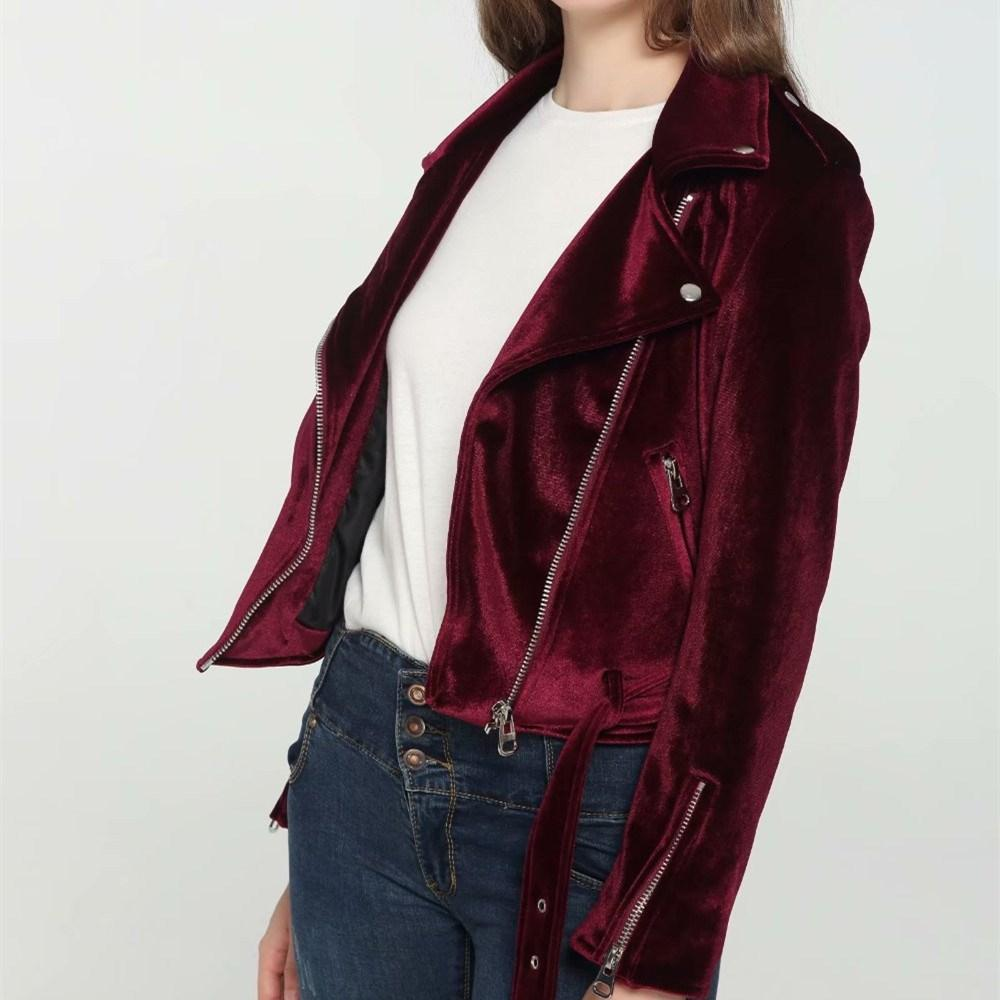 2018 Women Red Blue Soft Velvet Jackets Loose Long Sleeve Velour Coat Warm Solid Zipper Outerwear Coat