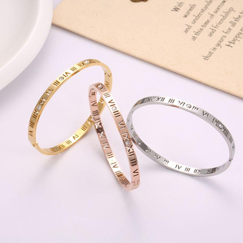 الأرقام الرومانية جوفاء سوار الفولاذ المقاوم للصدأ الأزياء 18K ارتفع الذهب الماس سوار التيتانيوم الصلب جوفاء السيدات سوار