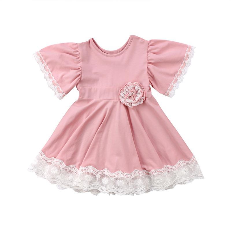 키즈 아기 소녀 옷 레이스 공주 라운드 넥 반소매 기하학 유아 면화 캐주얼 신생아 파티 원피스