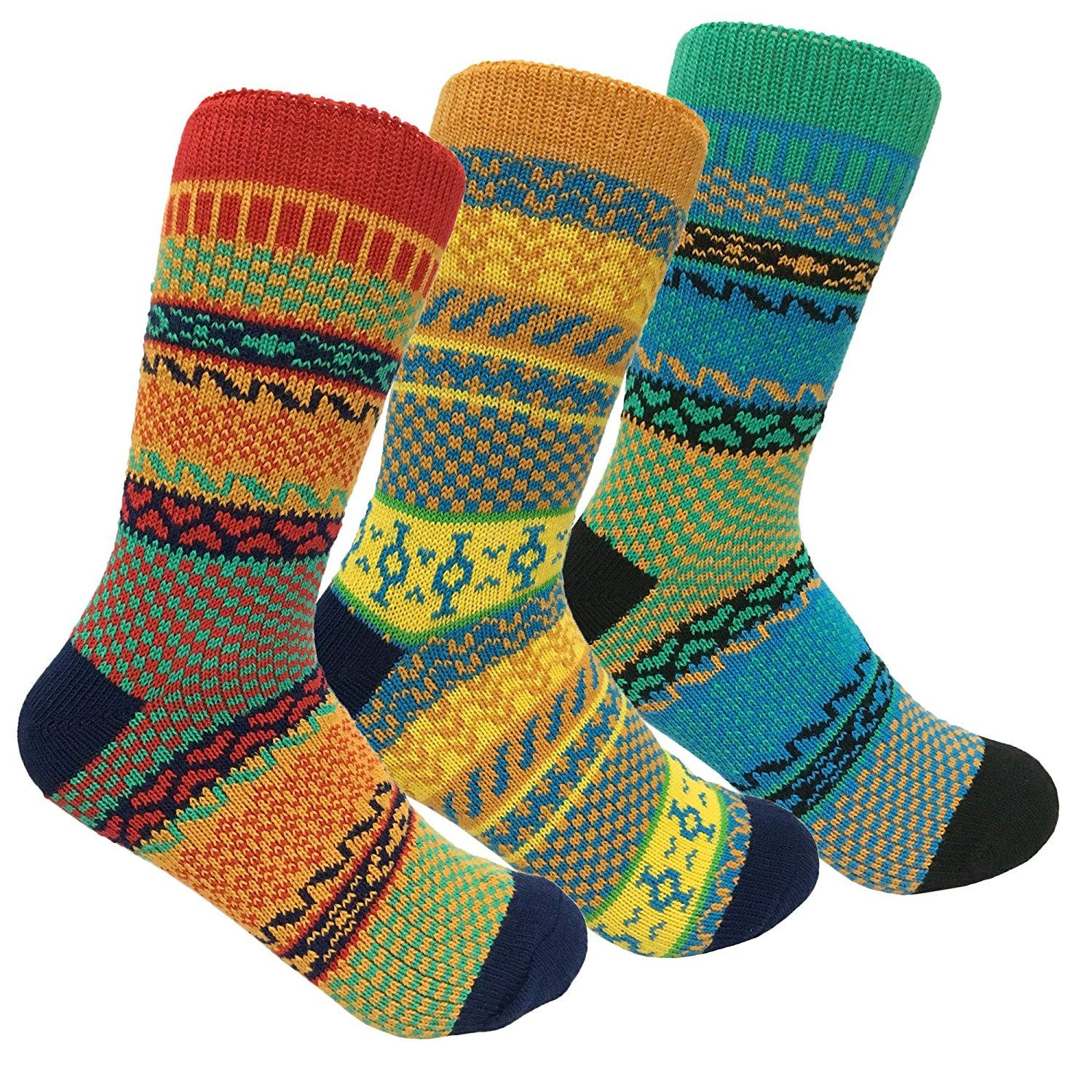 Women/'s Thick Comfy Vintage Knitted Colorful Patterned Cabin Crew Slipper Socks