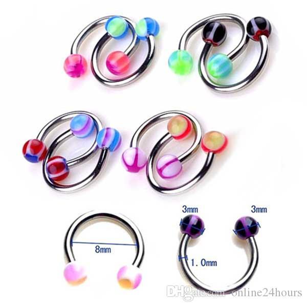 Color al azar de acrílico del caramelo del anillo de doble bola del vientre del anillo para las mujeres Pircing quirúrgico del ombligo de acero joyería del cuerpo