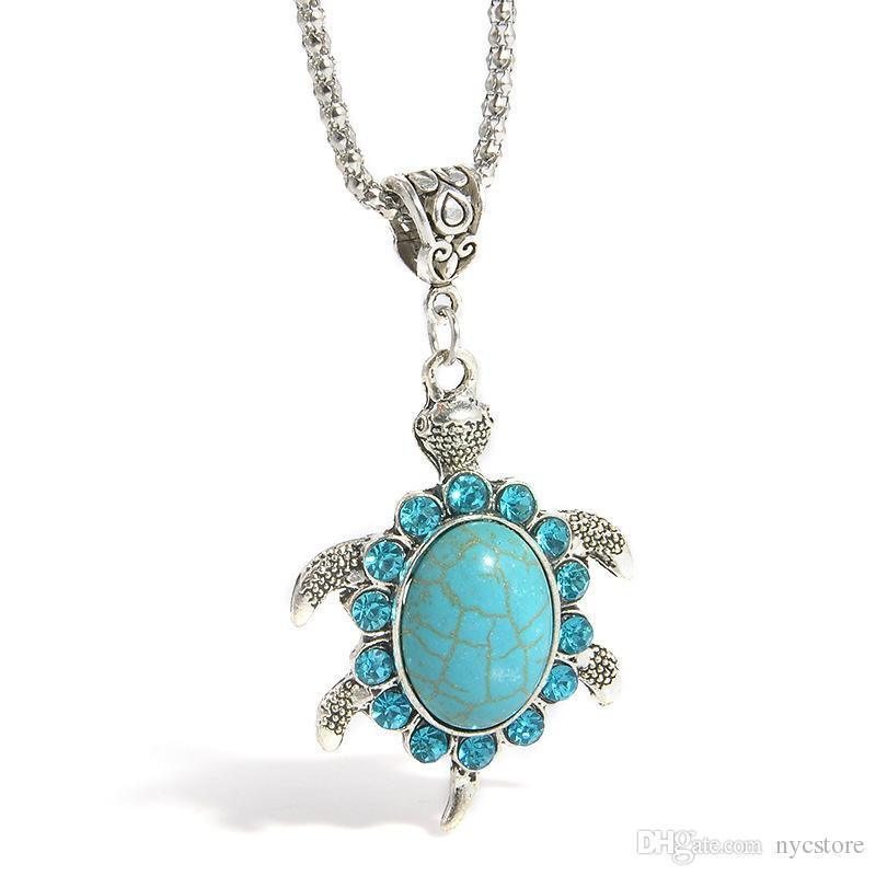 Venda por atacado turquesa strass tartaruga pingente colar de cristal verde colares para mulheres jóias