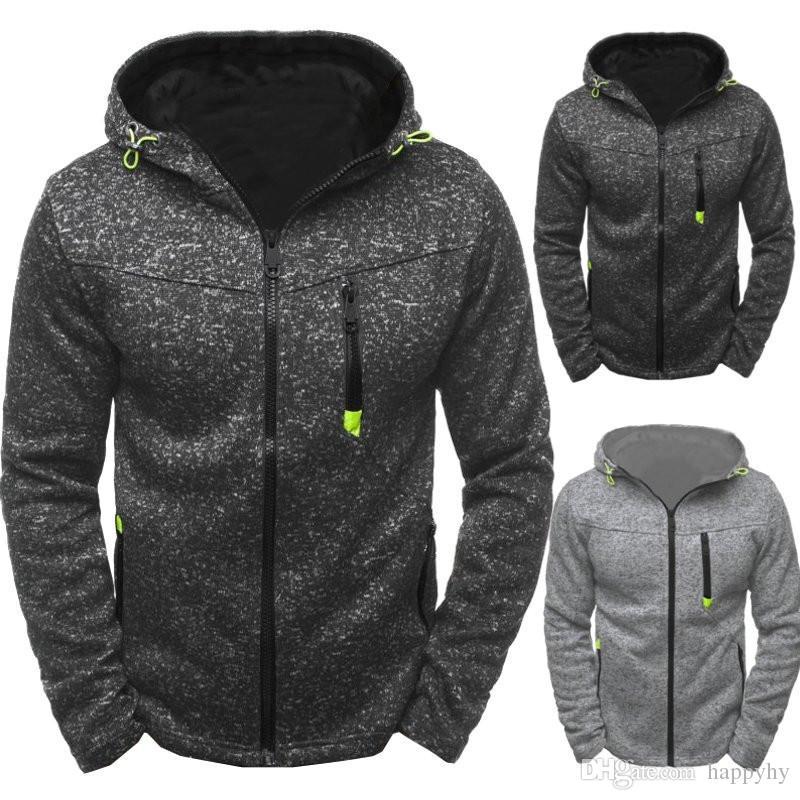 2018 New Autumn And Winter Men's Hoodies Contrast Color Slim Thickened Fleece Hoodies Casual Zipper Hooded sport Jackets men's hoodies