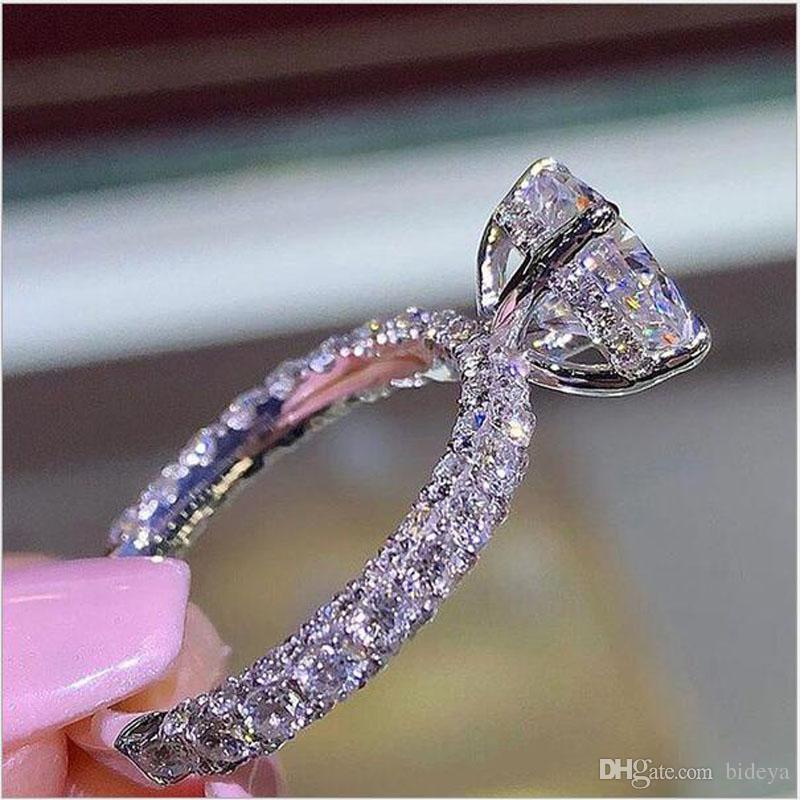 Роскошные Алмазные Принцесса Женщины Кольца Для Свадьбы Кристаллы Ювелирные Изделия Палец Кольца Мода Свадебные Аксессуары
