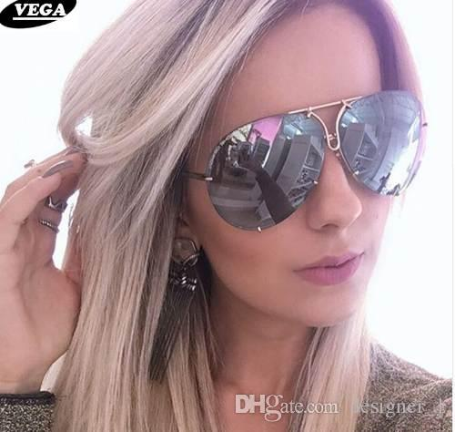 Gafas de sol grandes Mujeres Ladies Large Aviation Gafas de sol femeninas Gafas de gran tamaño mujeres sunglass oversize sin montura VG06