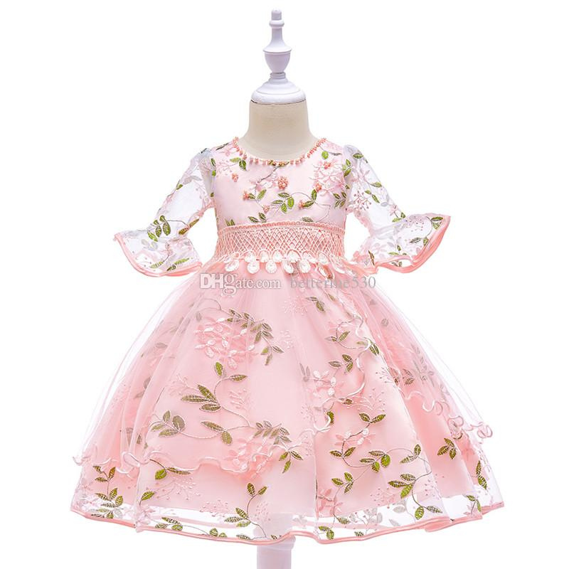 European and American Pastoral Style of The New Short-sleeved Dress Child Princess Dress Embroidered Flower Girl Dress