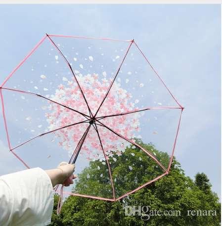 Fancytime Romántico Mujeres Niños Paraguas Lluvia Mujeres Paraguas Transparente 3 Plegable Clásico Cereza Paraugas Paraguas Claro