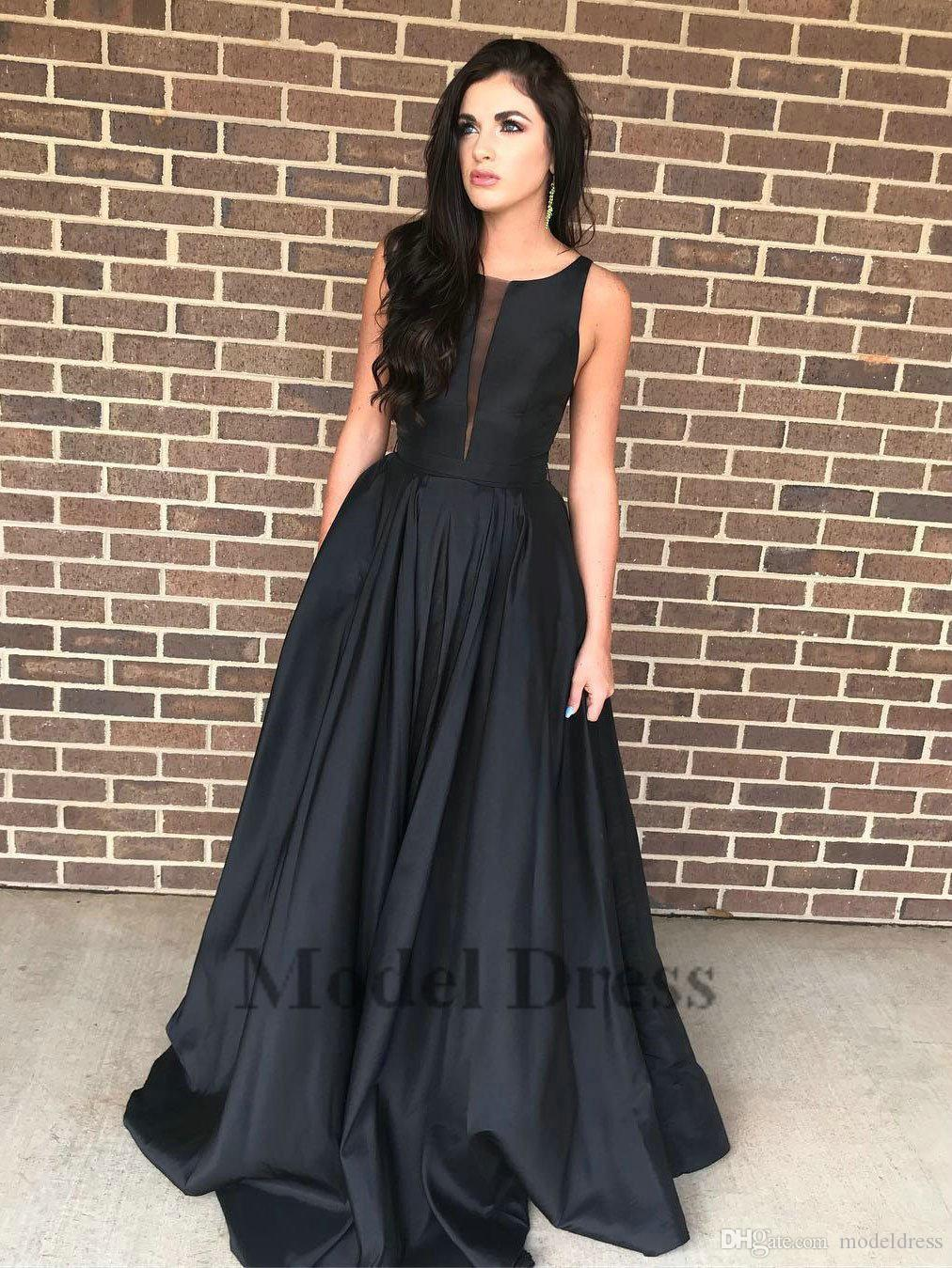 Satin Black Evening Dresses Elegant A Line Sleeveless Fashion Women Celebrity Evening Gowns Red Carpet Free Shipping High Quality Hot Sale