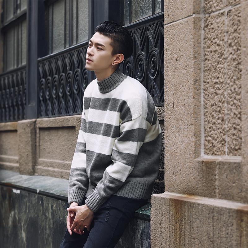 09c91b451aa62 Satın Al Kontrast Şerit Balıkçı Erkekler Kazak Çekin Homme Hiver Siyah  Beyaz Yeşil Gri Noel Kazak Erkekler Kore Moda Giyim, $49.76   DHgate.Com'da