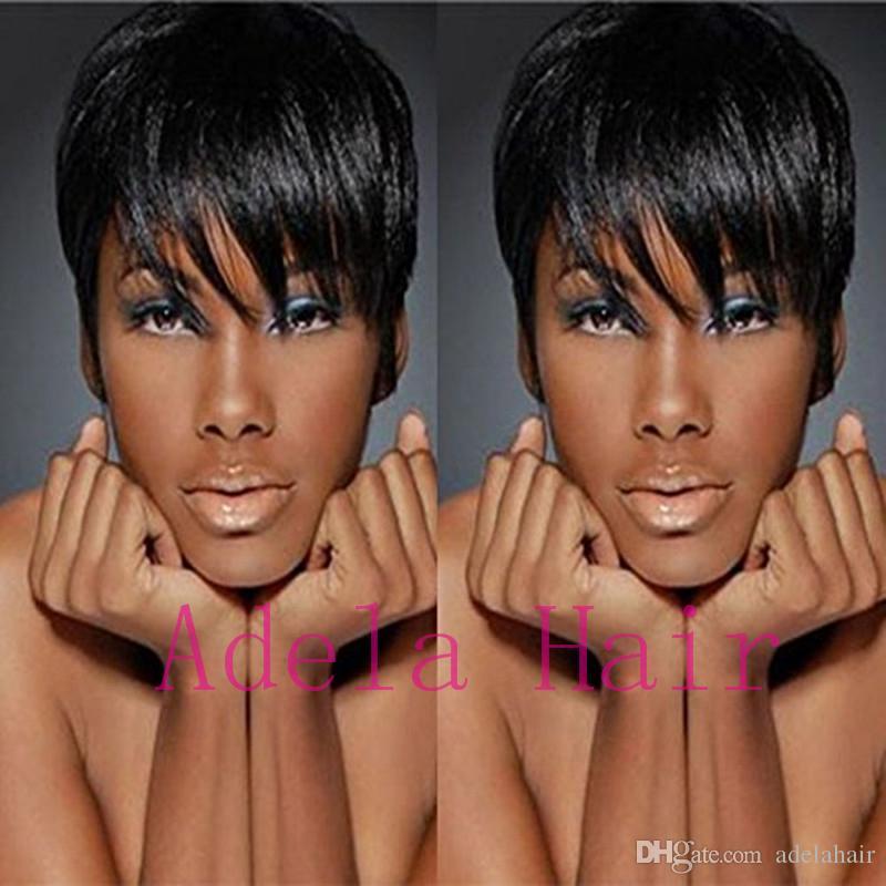 Celebrity machine made Hair Natural Black Mix pelucas cortas rectas del duendecillo Peluca corta del pelo humano barato del corte negro para las mujeres negras