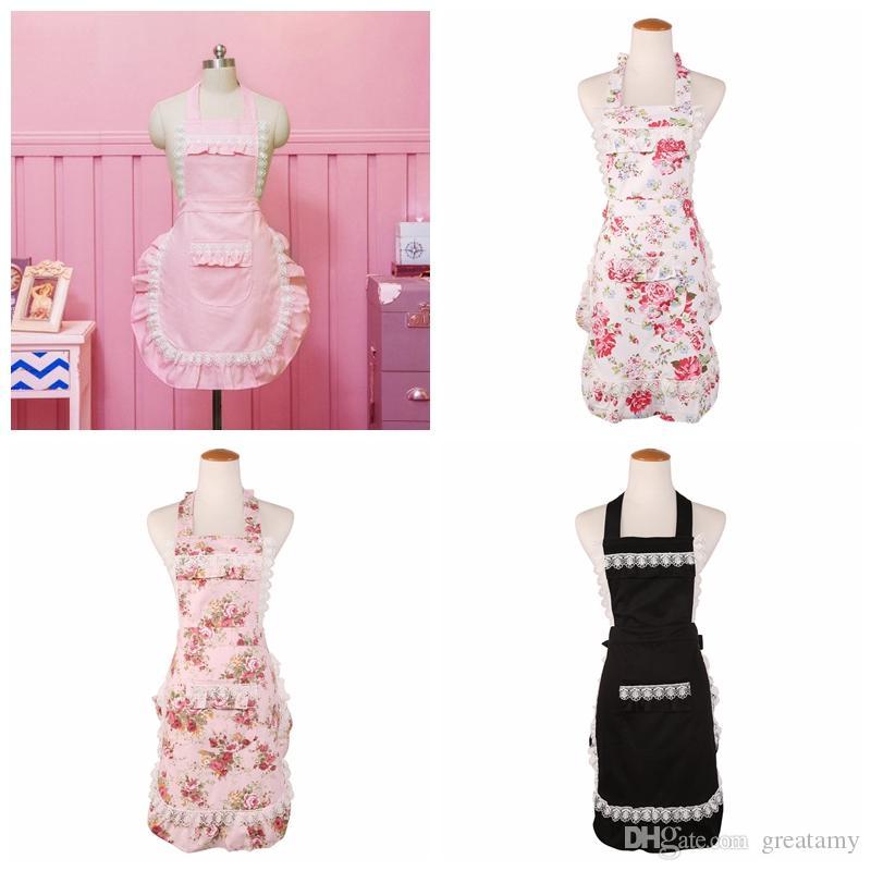 Amazon vendita calda grembiuli rosa bianco Lilla fiore stampato donna grembiule pizzo grembiule nero doppio strato grembiule boutique di alta qualità
