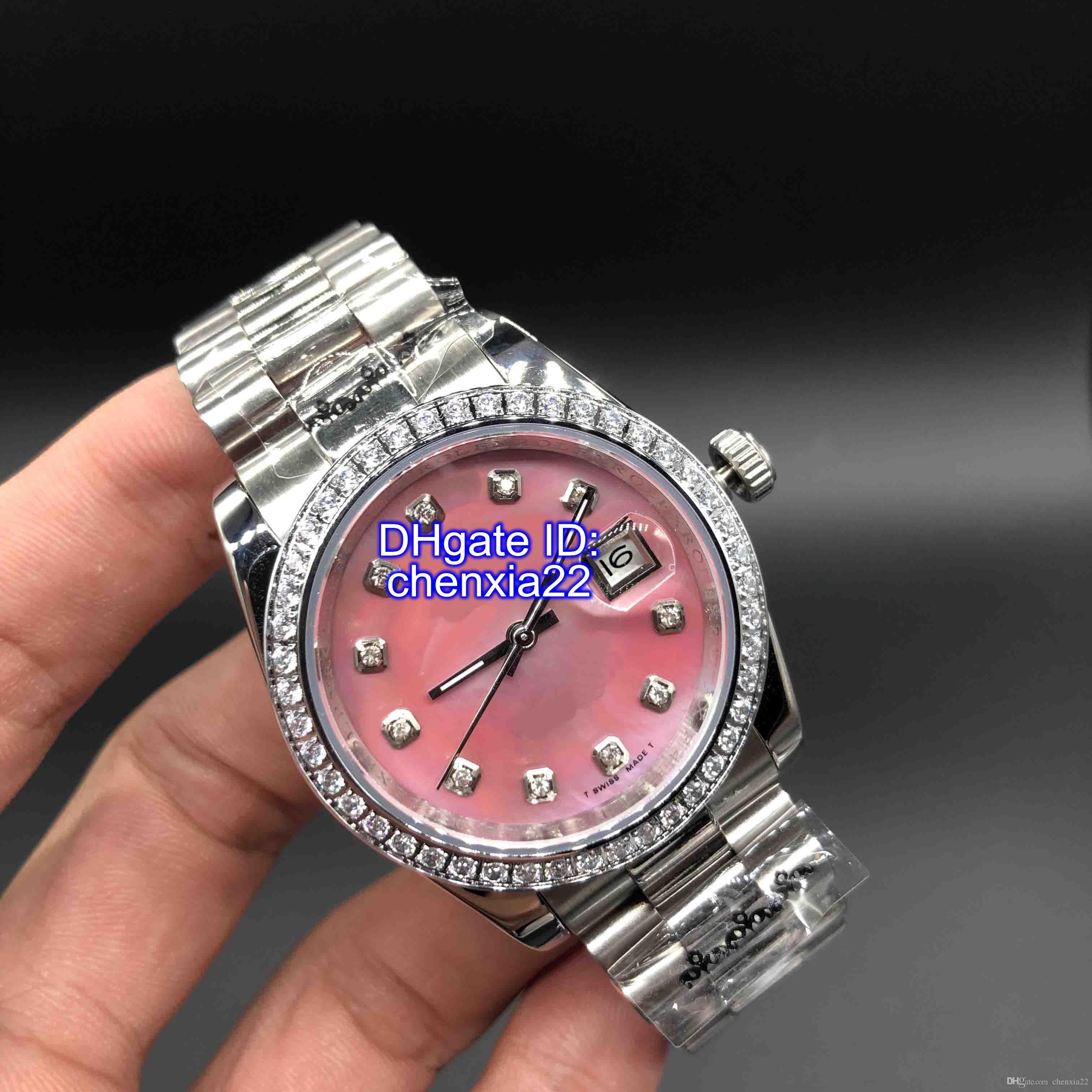 Relógios de luxo DateJust Relógios Diamante Mark Shell Rosa Dial Mulheres Relógios Em Aço Inoxidável Senhoras Relógio de Pulso Automático dos Namorados Melhor Presente 36mm