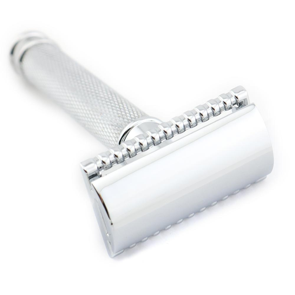 Double Edge Safety Razor Shaving Razor Silver Manual Razor Classic Style Anti Slip handle H1 Wholesale 10PCS/LOT Lyrebird NEW
