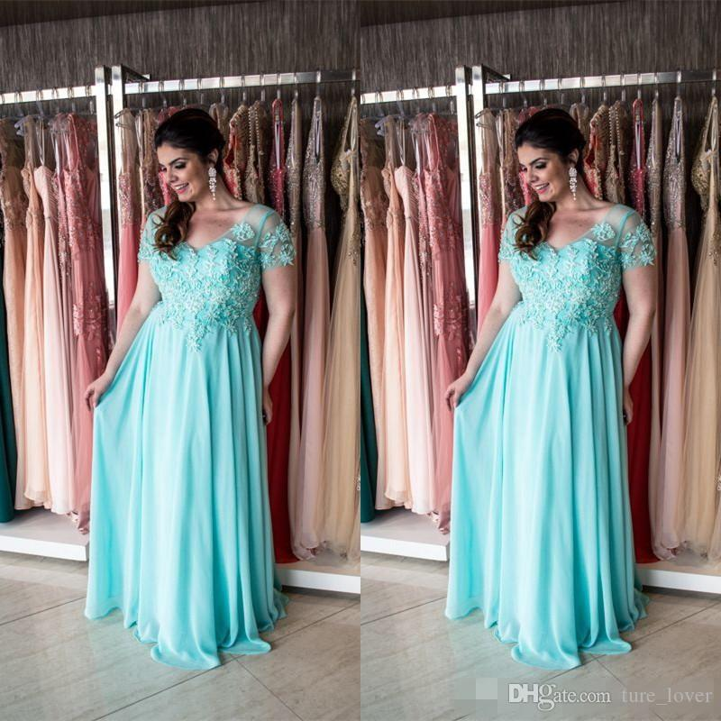 outlet boutique classic styles fashion styles Aqua Plus Size Mother Of The Bride Dresses 2017 Short Sleeves Maxi Big  Sizes Formal Weddings Guest Dress For Fat Women Mother Of The Groom Dresses  For ...