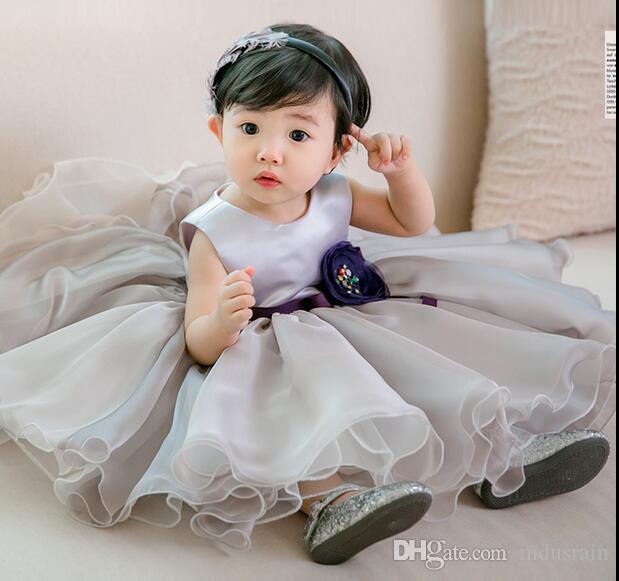 Bebek Kız Giydirme Gri şifon Çocuklar Prenses 1 Yıl doğum günü partisi Tutu Elbise İçin Bebek Kostüm Bebek Vaftiz Elbise 0-2 Yıl