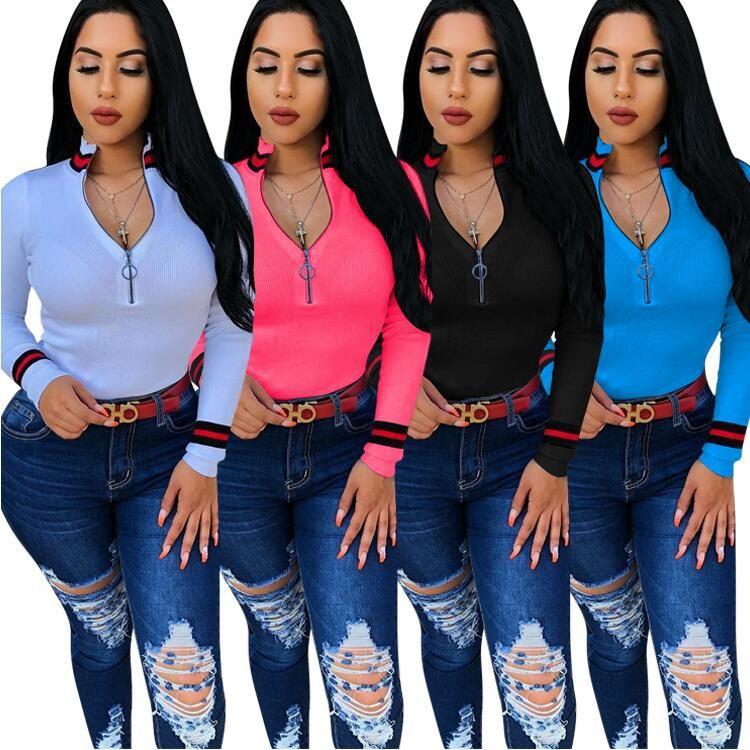 Сексуальная молния воротник Ямы майка 2018 мода лето полоса женщин тройники топы с длинным рукавом рубашки фам случайных спортивной 4 цвет S-XXXL