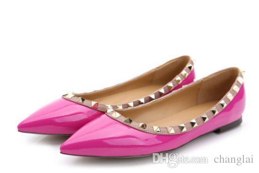 Invia Hot 2018 nuovi rivetti di stile su scarpe basse con fondo piatto da donna in Europa e America @ 899999