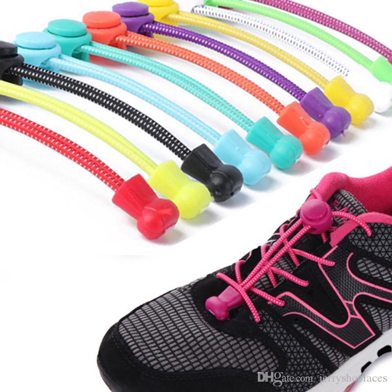 Heißer Verkauf Elastische Keine Krawatte Schnürsenkel Unisex Mischfarbe Runde Shoestrings Stretch Seil für Kind Erwachsene Turnschuhe Sportschuhe