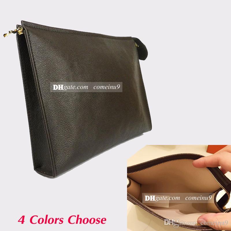 Excelente Calidad 2018 Neceser de Viaje Bolsa de 26 cm de Cuero Genuino bolso de las mujeres Impermeables Bolsas de Cosméticos 47542 Embrague de Maquillaje para hombres