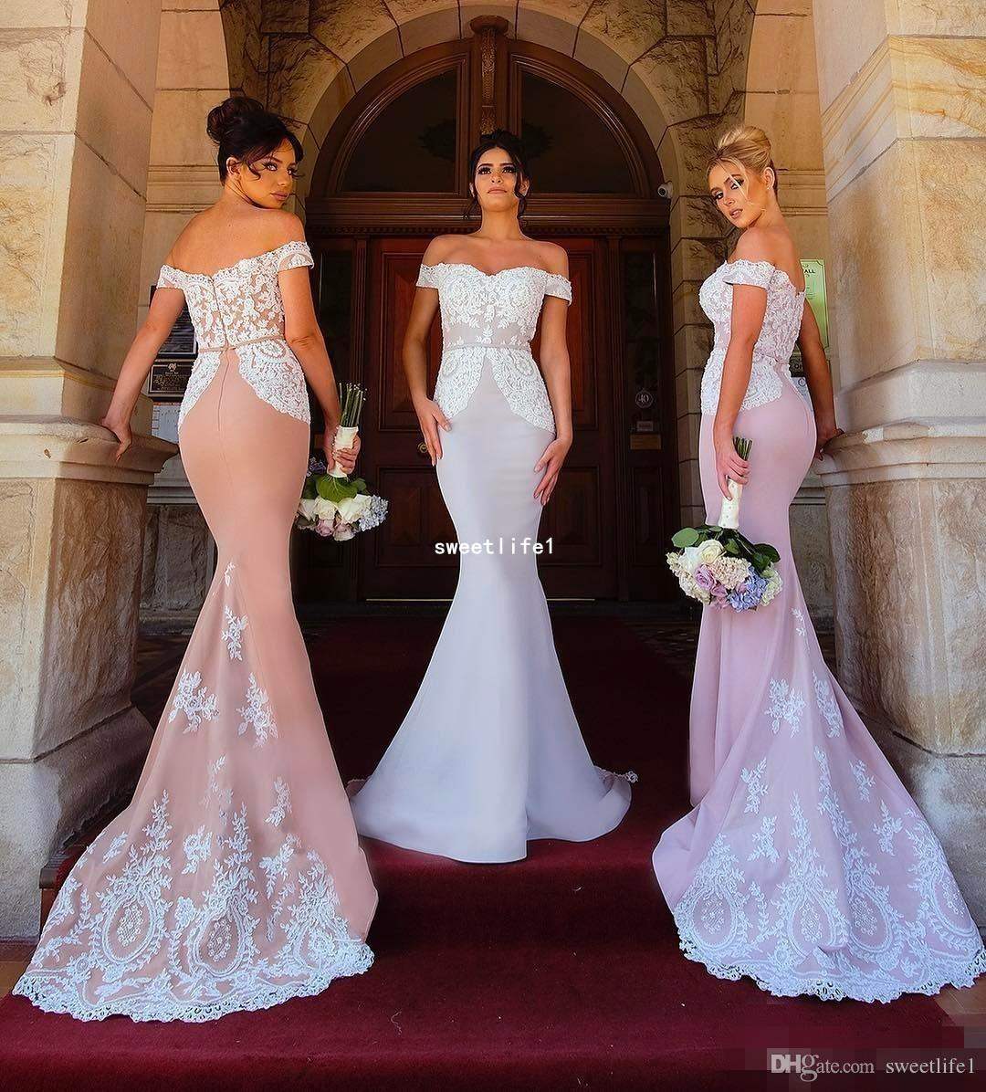 buy popular great discount fashion style 2018 Mermaid Bridesmaid Dresses Elegant Off Shoulder Lace Appliques Maid Of  Honor Dresses Formal Party Gowns Wedding Reception Dress Bridesmaid ...