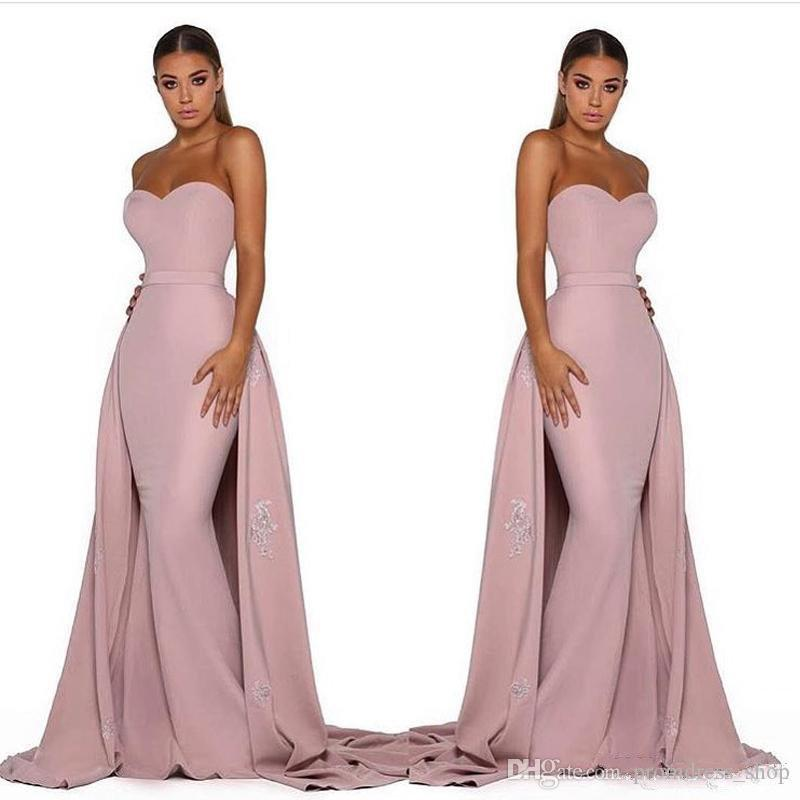 2019 Detachable Tail Mermaid Prom Dresses Pink Satin Evening Dresses Sweetheart Sleeveless Lace Appliques Sweep Train Open Back