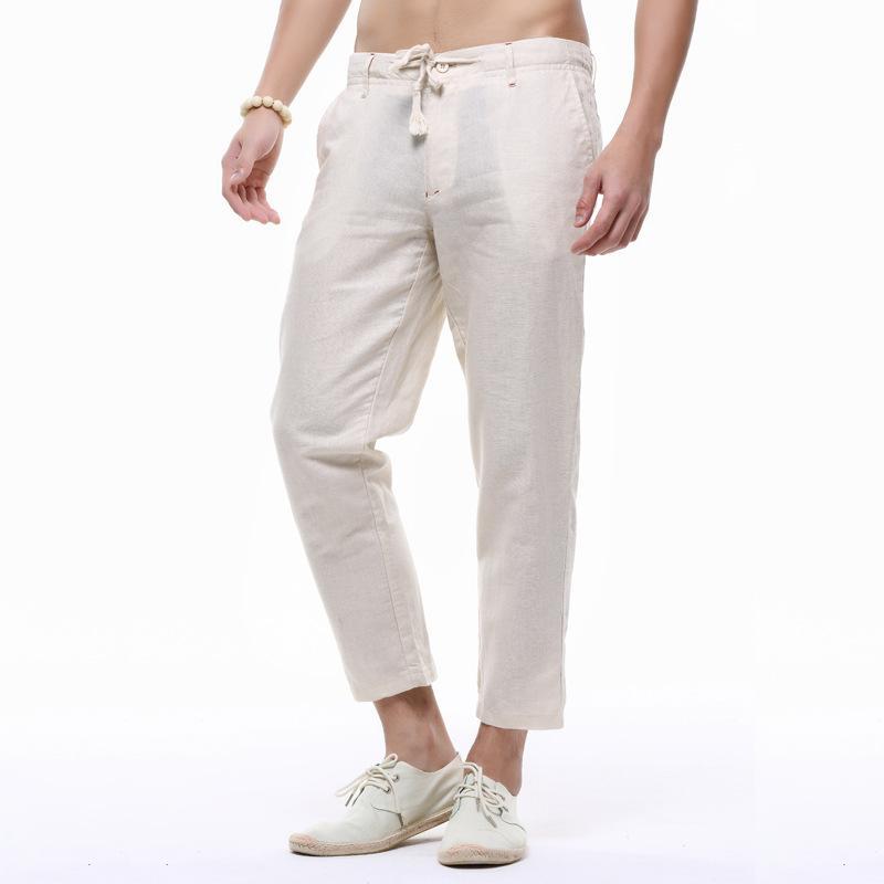Hommes solides Couleur Lin Crayon Pantalons taille élastique été Trendy mince cheville longueur Pantalon droit Jogger Pantalon XXXL