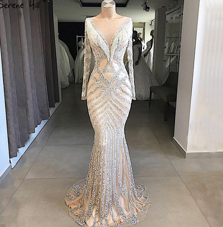 Luxury Dubai Beaded Mermaid Prom Dresses 2018 Sparkle