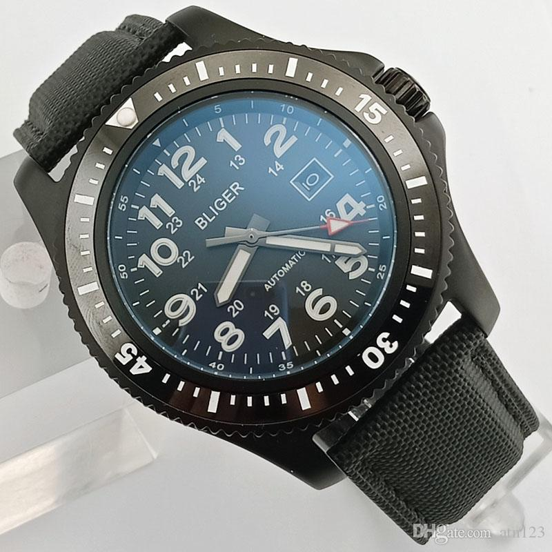 BLIGER 44mm Dial negro Negro / Azul Bisel de cerámica Movimiento mecánico automático Fecha luminosa Reloj de pulsera de lujo para hombre