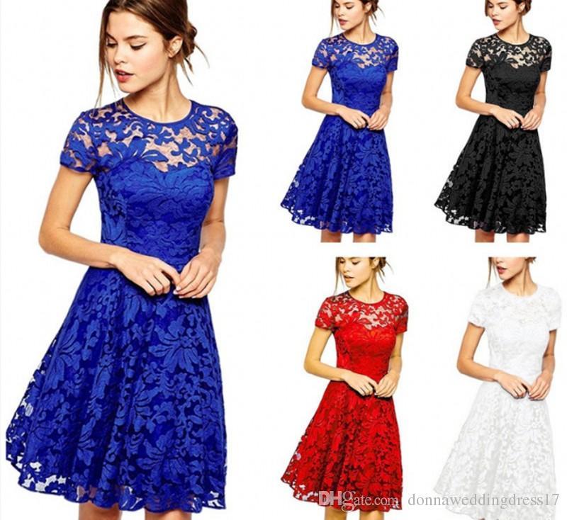 Compre 2018 Vestido De Talla Grande Moda Mujer Casual Dulce Hallow Out Vestido De Encaje Princesa Fiesta Delgada Vestidos De Verano Vestidos Rojo Azul