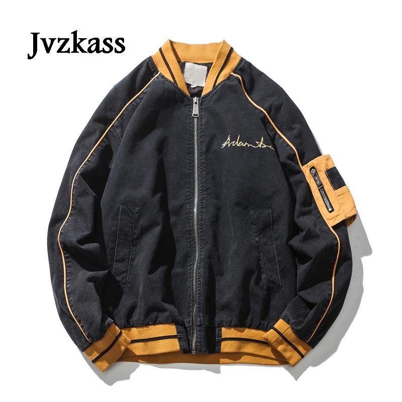 Jaquetas femininas jvzkass 2021 outono neutro lavado jaqueta de bombardeiro feminino estudantes frouxos cor sólida japonesa de manga comprida Z227