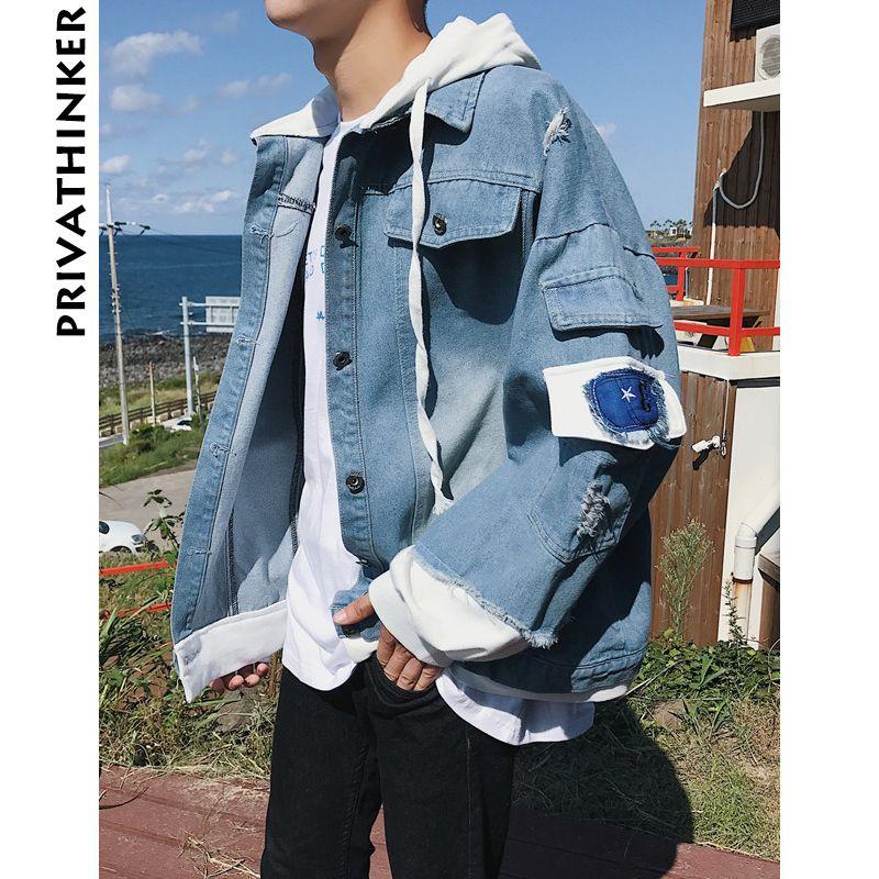 740e73abff431 2018 Spring Baggy Man Denim Jackets Coat Oversize Patchwork Jackets Male  Streetwear Men Korean Denim Jacket Denim Parka Jacket Shop Jackets From ...