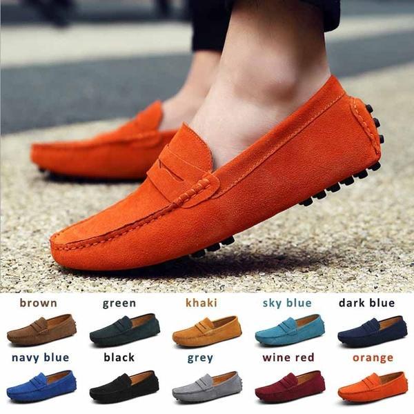 Compre 2017 Nueva Moda Para Hombre Zapatos Casuales Moda Guisantes Zapatos De Cuero De Gamuza Hombres Mocasines Mocasines Resbalón En Los Pisos De Los