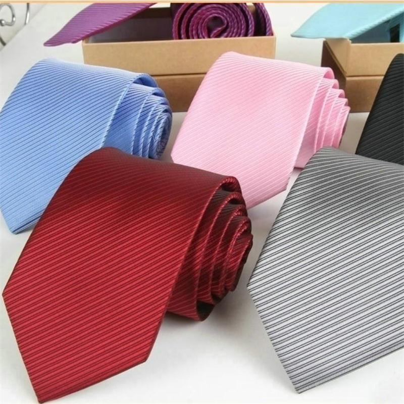 Чистые связи для мужчин полоски галстуки полиэстер галстук 8см аскот деловой юрист административные галстуки офисы аксессуары синий черный 2 шт. / Лот