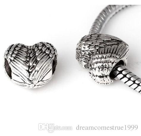 100PCS / lot التبتية فضة القلب أجنحة الملاك الخرز سحر لصنع المجوهرات 11x11.5mm hole4.5mm